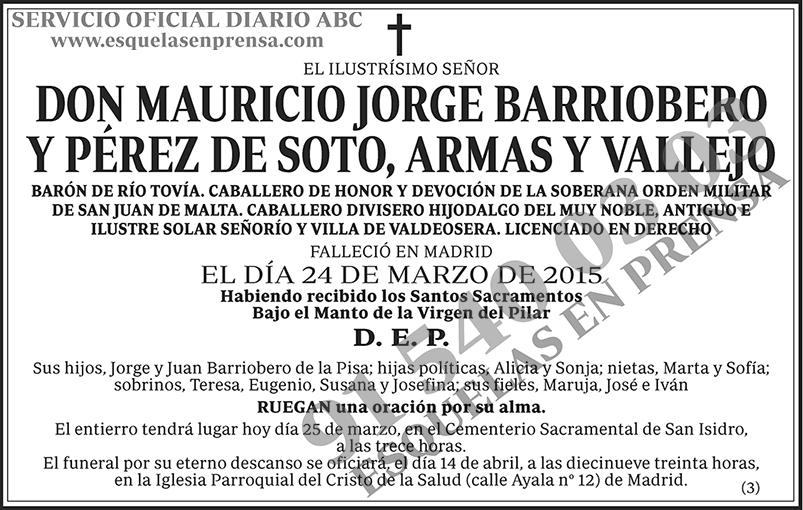 Mauricio Jorge Barriobero y Pérez de Soto, Armas y Vallejo